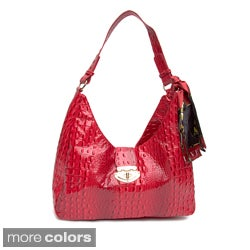 Vecceli Italy Alligator Embossed Lock-front Shoulder Bag