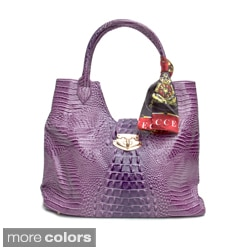 Vecceli Italy Alligator Embossed Shoulder Bag with Metal Lock