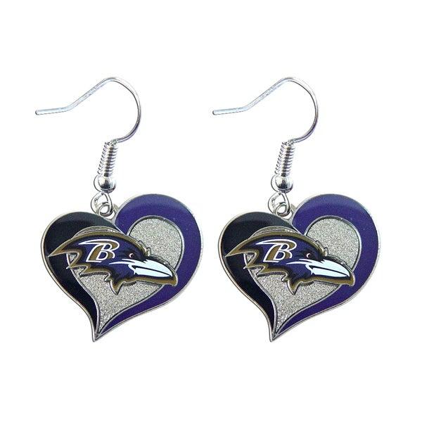NFL Team Logo Silvertone Heart-shaped Earrings