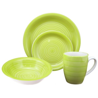 16-Piece Green Swirl Stoneware Dinnerware Set