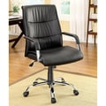 Furniture of America Black Contemporary Height Adjustable Leatherette Office Chair