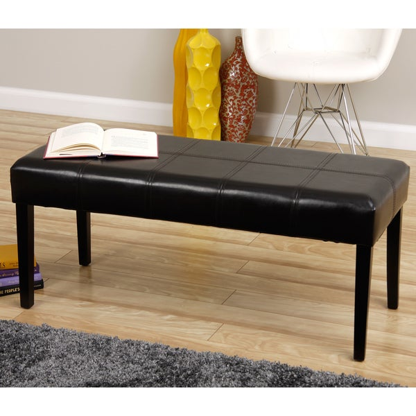 Rectangle Faux Leather Bench