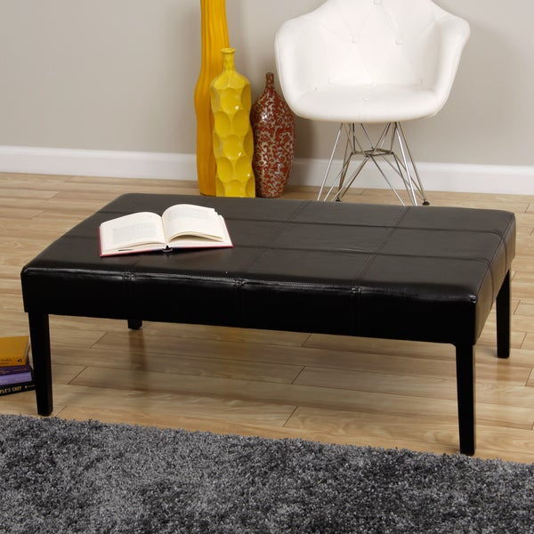 Rectangle Faux Leather Coffe Table Bench