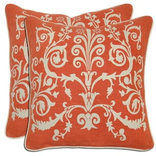 Villa Linen Scroll Throw Pillows (Set of 2)