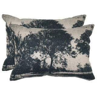 Bella Cotton/ Linen Tree Print Throw Pillows (Set of 2)