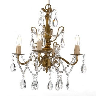 Gallery 4-light Wrought Iron and Crystal Gold Finish Chandelier