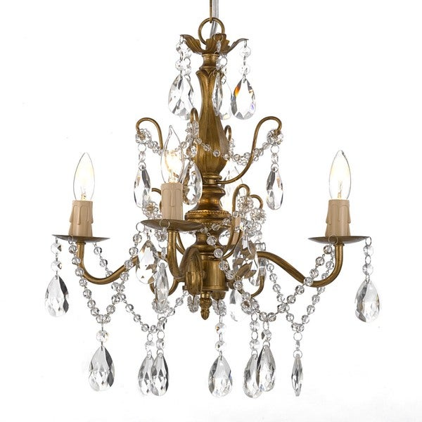 Gallery 4-light Wrought Iron and Crystal Gold Finish Chandelier Hardwire and Plug In