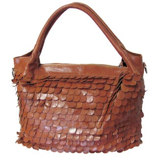 Amerileather 'Barque' Leather Textured Handbag