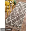 Rug Collective Hand-knotted Moroccan Trellis Natural Shag Wool Runner (2'8 x 10')