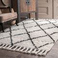 Rug Collective Hand-knotted Moroccan Trellis Natural Shag Wool Rug (5&#39; x 8&#39;)