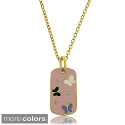 Molly and Emma 18k Gold Overlay Children's CZ/ Enamel Butterfly Necklace