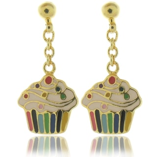 Molly and Emma 18k Gold Overlay Children's Enamel Cupcake Earrings