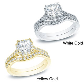 Auriya 14k Gold 1ct TDW Princess Diamond Bridal Set (H-I, SI1-SI2)