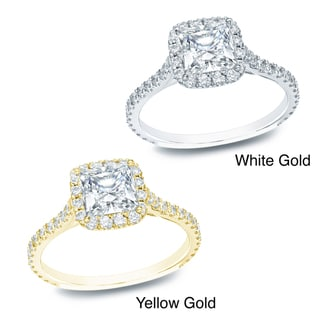 Auriya 14k Gold 1 1/2ct TDW Certified Diamond Halo Engagement Ring (H-I, SI1-SI2)