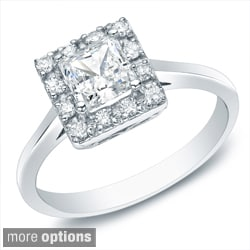 Auriya 14k Gold 1/2ct TDW Princess Diamond Halo Engagement Ring (H-I, SI1-SI2)