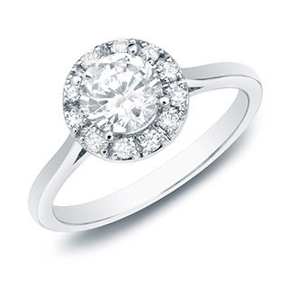 Auriya 14k Gold 1/2ct TDW Round Diamond Halo Engagement Ring (H-I, SI1-SI2)