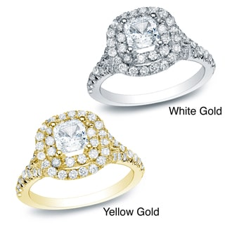 Auriya 14k Gold 1 3/4ct TDW Certified Diamond Halo Engagement Ring (H-I, SI1-SI2)