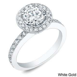 Auriya 14k Gold 1ct TDW Certified Round Diamond Engagement Ring (H-I, SI1-SI2)