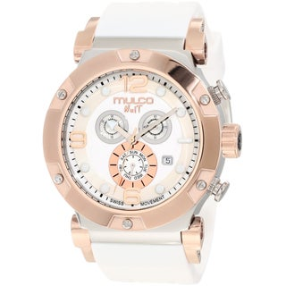 Mulco Unisex Fashion White/ Rose-goldtone Swiss Quartz Watch