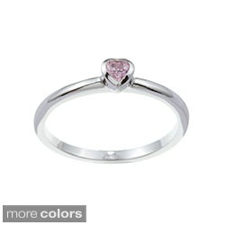 Kate Bissett Silvertone Heart-shaped Cubic Zirconia Solitaire Ring