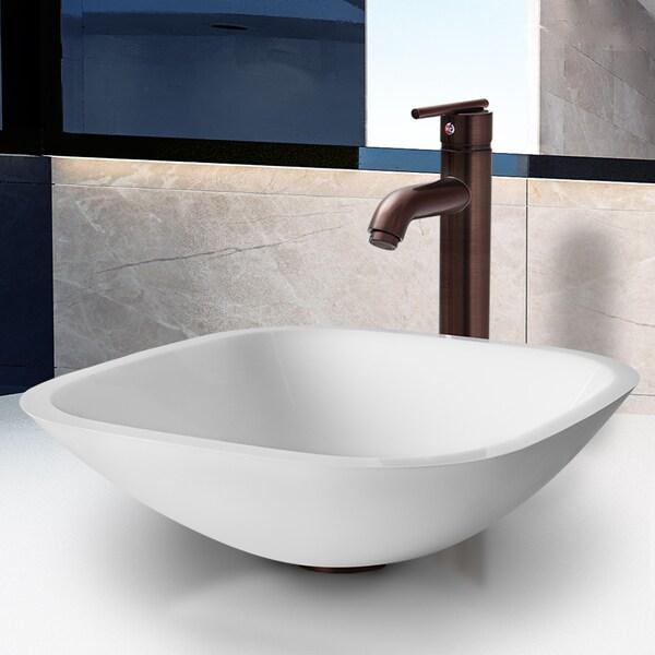 VIGO Square-Shaped White Phoenix Stone Glass Vessel Sink with Oil-Rubbed Bronze Bathroom Faucet