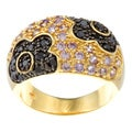Kate Bissett 14k Gold Overlay Pink and Black Cubic Zirconia Floral Cocktail Ring