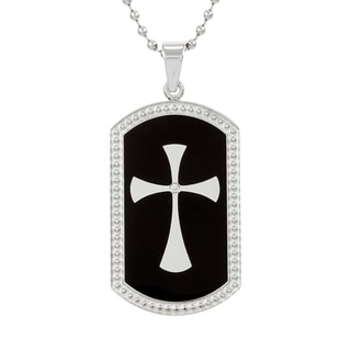 Stainless Steel Diamond Accent Cross Dog Tag Necklace