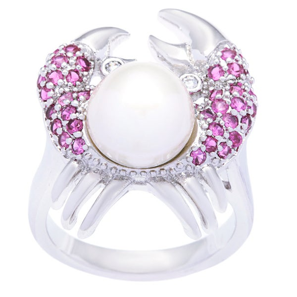 Kate Bissett Silvertone Pave Fuschia and Clear Cubic Zirconia Pearl Crab Cocktail Ring