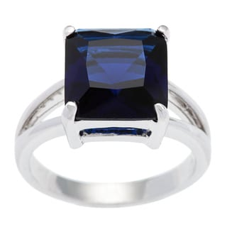 Kate Bissett Silvertone Cocktail Gypsy Solitaire Princess-cut Cubic Zirconia Ring