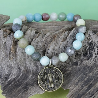 Handmade Amazonite Beads with Antique Goldplated Religious Coin Stretch Charm Bracelet