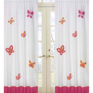 Pink and Orange Butterfly 84-inch Curtain Panel Pair