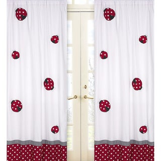 Red and White Polka Dot Ladybug 84-inch Curtain Panel Pair
