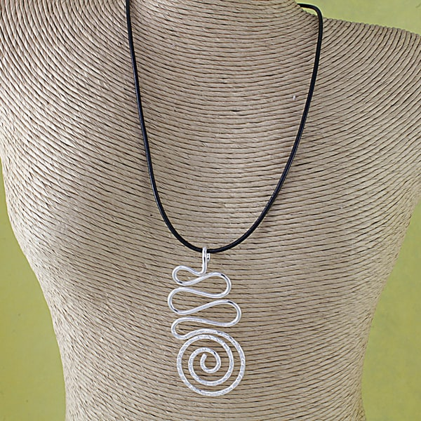 Silver Plated Ribbon Swirl Pendant Necklace (India)