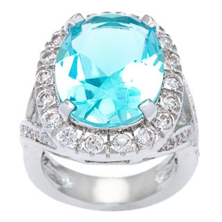 Kate Bissett Silvertone Blue Topaz Ascher Cubic Zirconia Fashion Cocktail Ring