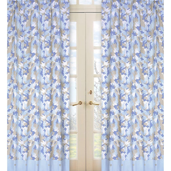 Khaki and Blue Camo 84-inch Curtain Panel Pair