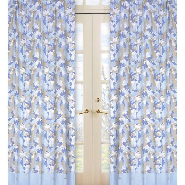 Khaki and Blue Camo 84-inch Curtain Panel Pair