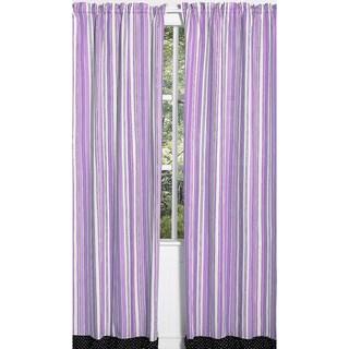 Purple and Black Stripe Kaylee 84-inch Curtain Panel Pair