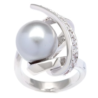 Kate Bissett Silvertone Grey Faux Pearl and Cubic Zirconia Fashion Ring