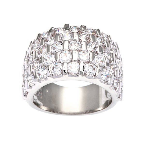 Kate Bissett Silvertone Channel Set Cubic Zirconia Chessboard Fashion Ring