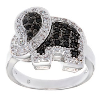 Kate Bissett Silvertone Clear and Onyx Cubic Zirconia Elephant Cocktail Ring