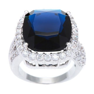 Kate Bissett Silvertone Blue Cushion Cut Cubic Zirconia Cocktail Ring