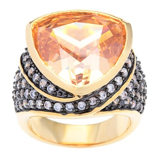 Kate Bissett 14k Gold Overlay Champagne Cushion-cut Trillion Cubic Zirconia Cocktail Ring