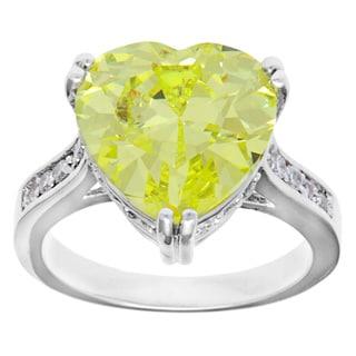 Kate Bissett Silvertone Peridot Heart Cubic Zirconia Fashion Cocktail Ring