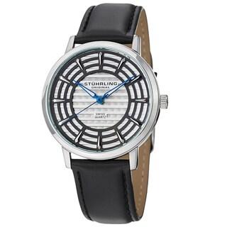 Stuhrling Original Men's Colosseum Quartz Leather Strap Watch