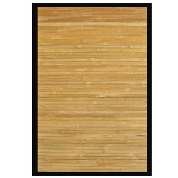 Namaste Rayon from Bamboo Rug with Black Border (6' x 9')