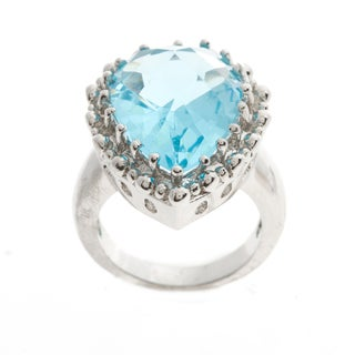 Kate Bissett Silvertone Blue Cubic Zirconia Teardrop Solitaire Cocktail Ring