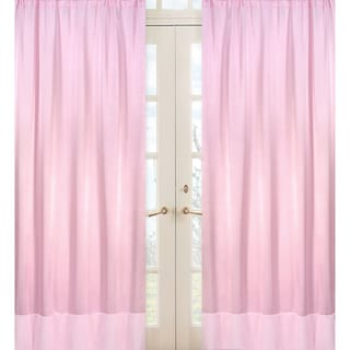Pink Chenille and Satin 84-inch Curtain Panel Pair