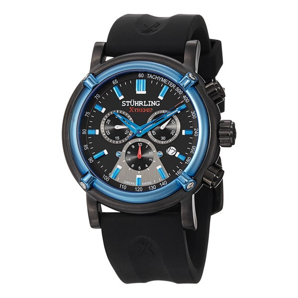 Stuhrling Xtreme Men's Aevus Swiss Chronograph Rubber Strap Watch with Blue Hands and Markers