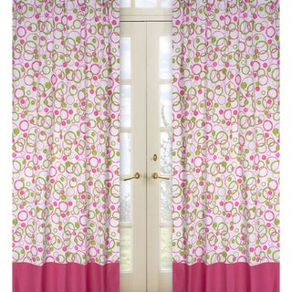 Circles Pink and Green 84-Inch Curtain Panel Pair
