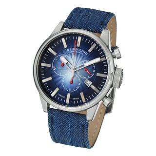 Stuhrling Original Men's Concorso Sport Quartz Blue Leather Strap Watch